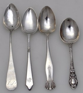 4 American Antique Sterling & Coin Spoons