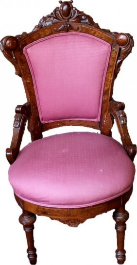 Victorian Pink Parlor Chair C. 1890
