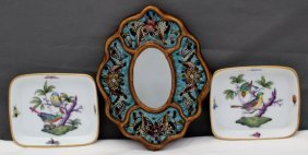 3 Pc Herend Nuts Robert Weiss Reverse Painted Mirror