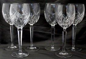 6 Waterford Signed Lucerne Goblets