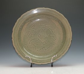 Chinese Longquan Crackle Glazed Charger