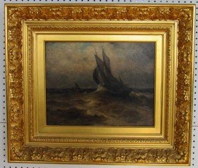 19th Century Marine Painting Oil On Canvas