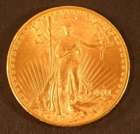 $20 1911-D Liberty Gold Coin