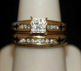 Lady's Fancy 14kt Over Silver Wedding Set With Diamonds