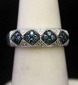 Very Fancy Silver Ring With Blue Topaz & Diamonds