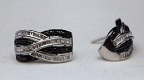 Beautiful Silver Earrings With Black Diamonds &