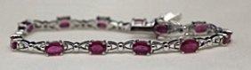 Fancy Silver Bracelet With Pigeon Blood Rubies