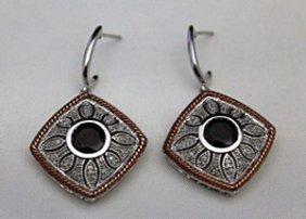 Lady's Fancy Silver Earrings With Garnets & Diamonds
