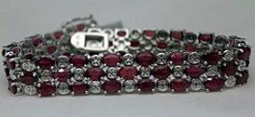 Lady's Fancy Silver Bracelet With Garnets & Diamonds