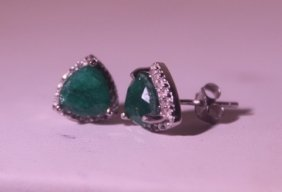 Exquisite Sterling Silver Earrings With Genuine