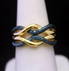 Lady's Fancy 14kt Over Silver Ring With Black Diamonds