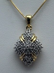 Gorgeous 14kt Over Silver Necklace With Diamonds