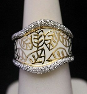 Gorgeous 14kt Over Silver Leafs Print Ring With