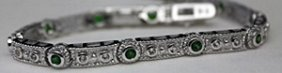 Fancy Silver Bracelet With Russian Chrome Diopside &