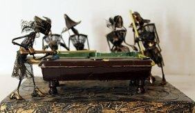 Billiards With Friends - Original Wire Frame Sculpture