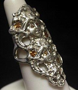 Fancy Custom Sapphire Silver Ring