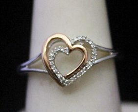 Lady's Fancy 14kt Over Silver Double Heart Ring With