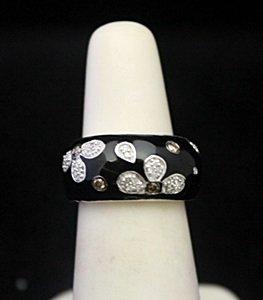 Beautiful Silver Ring With Black Enamel & Diamonds