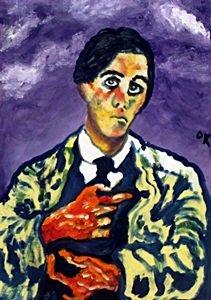 Self-portrait Oil On Paper - Oskar Kokoschika