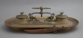 French Patinated Bronze Inkstand, C. 1870, The Central
