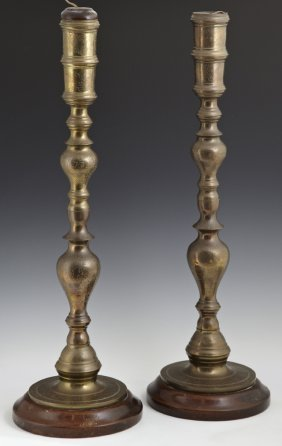 Pair Of Middle Eastern Brass Candlesticks, Early 20th