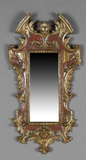 Florentine Style Parcel Gilt Polychromed Mirror, Mid