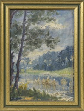 """A. Moreau, """"pines By The Lake,"""" 20th C., Oil On Board,"""