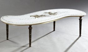 Louis Xvi Style Parcel Gilt Marble Top Coffee Table,