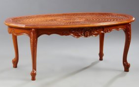 French Louis Xv Style Carved Beech Cane Top Coffee