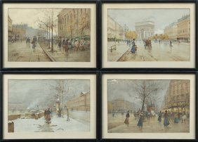 Set Of Four Vintage Colored Prints Of Parisian Street