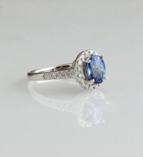 Lady's 14k White Gold Dinner Ring, With An Oval 2.15