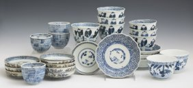Group Of Twenty-five Pieces Of Oriental Blue And White