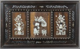 Chinese Mother-of-pearl Inlaid Panel, Early 20th C.,