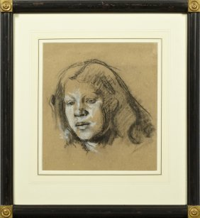 "English School, ""portrait Of A Girl,"" C. 1900, Pastel,"