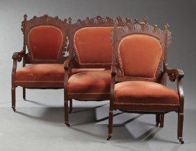 Three Piece American Art Nouveau Carved Oak Parlor