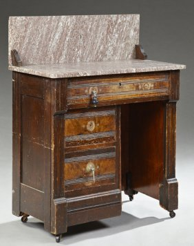 American Eastlake Carved Walnut Marble Top Washstand,