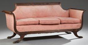 Duncan Phyfe Style Carved Mahogany Sofa, 20th C., The