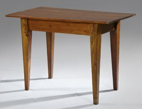 American Country Pine Side Table, 19th C., On Tapered