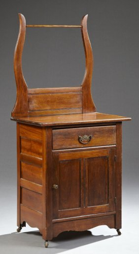 American Carved Birch Washstand, Late 19th C., The Lyre