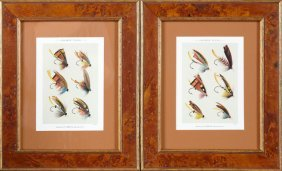 """salmon Flies,"" 20th C., Pair Of Colored Lithographs,"