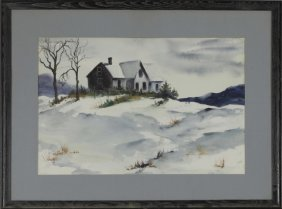 "American School, ""snowy Winter Landscape,"" 20th C.,"