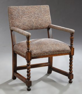 English Style Carved Oak Armchair, 20th C., On Rope