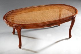 French Louis Xv Style Carved Cherry Cane Coffee Table,