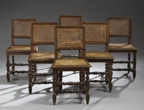 Set Of Six Henri Ii Style Carved Oak Caned Dining