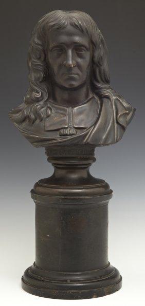 John Milton, 19th C., Patinated Terracotta Bust, On An
