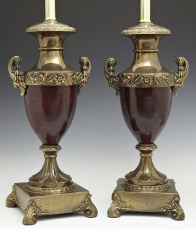 Pair Of Faux Bois Iron And Brass Urn Lamps, 20th C.,