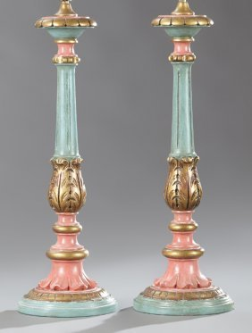 Pair Of Carved, Paint-decorated And Parcel-gilt Lamps,