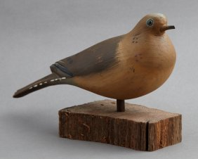 Carved And Polychromed Wood Dove Decoy, 20th C., By