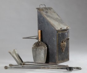 French Iron Coal Bucket, 19th C., With Painted Gilt