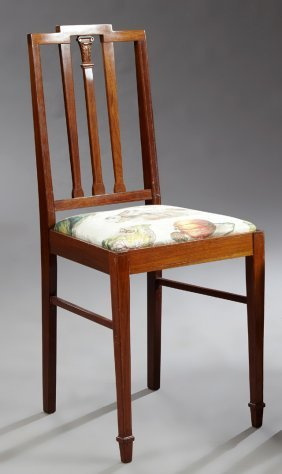 English Inlaid Mahogany Bedroom Chair, C. 1900, The